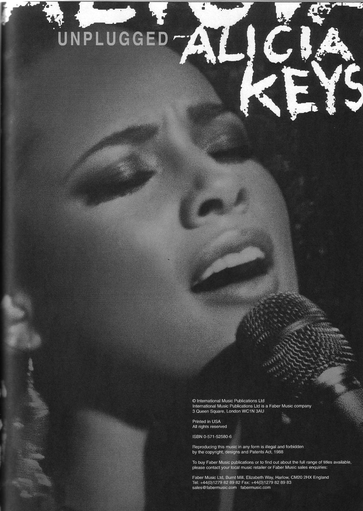 Alicia Keys «Unplugged» Piano, Vocal, Guitar Songbook