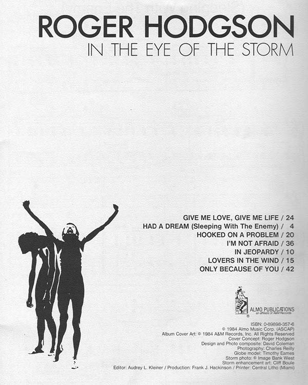 Songbook «In the Eye of the Storm» by Roger Hodgson