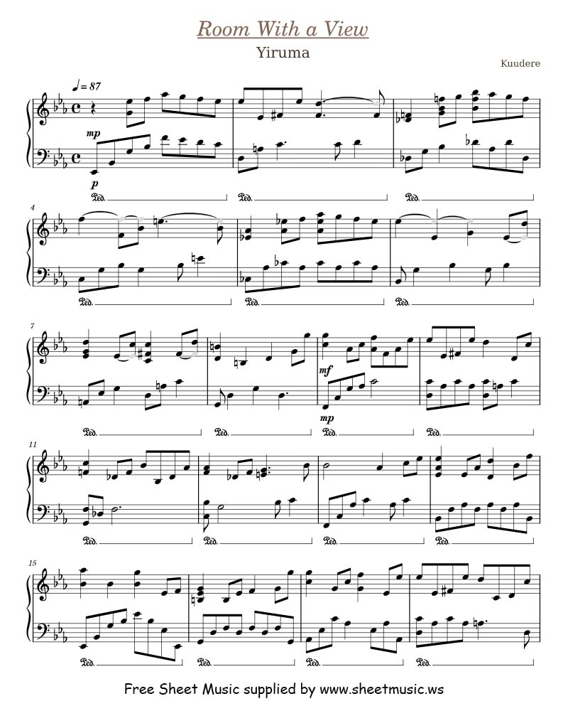 Yiruma - Room With a View - Sheet Music for Piano Solo